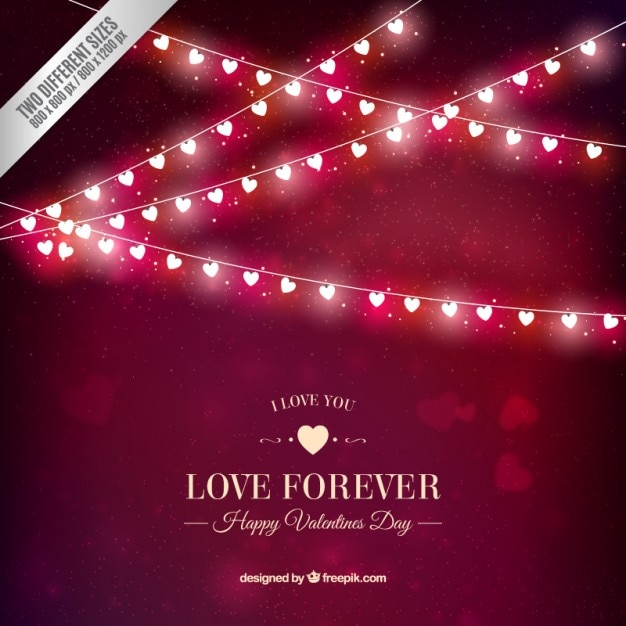 Shiny hearts garlands valentine Free Vector