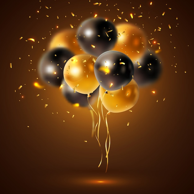 Shiny holiday balloons composition Free Vector