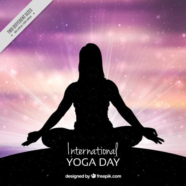 Shiny international yoga day background