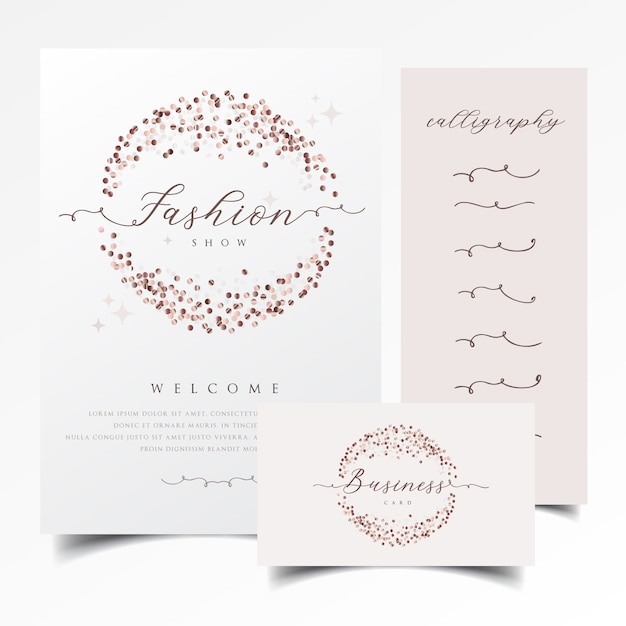 Shiny invitation and business card design with rose gold confetti Premium Vector