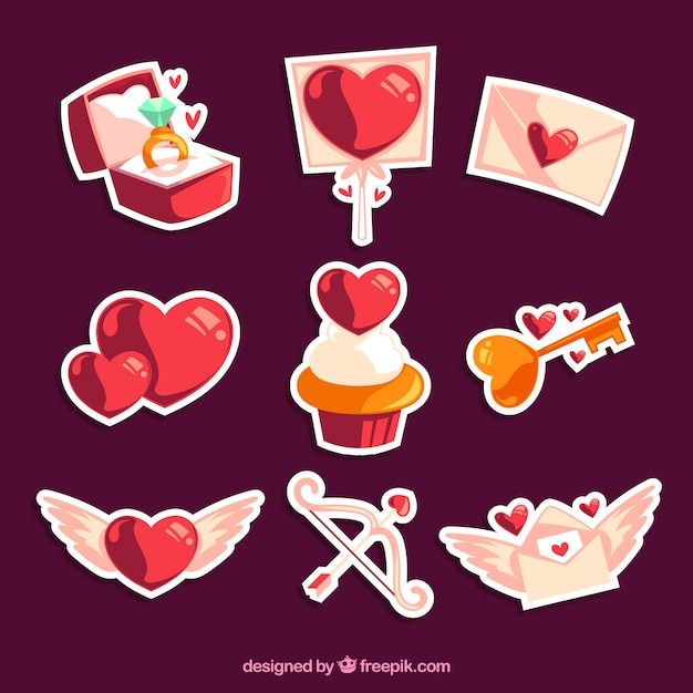 shiny love stickers pack vector free download