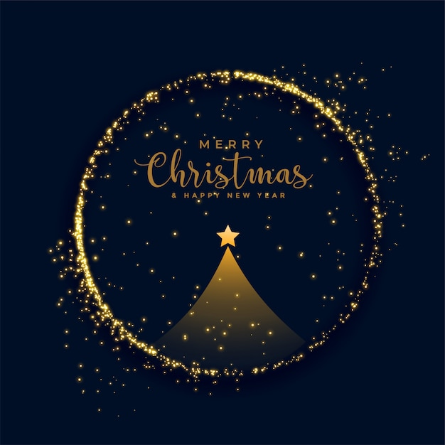 Shiny merry christmas tree golden particles background Free Vector