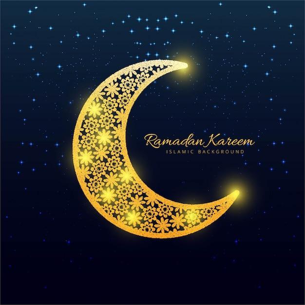 Shiny moon design for ramadan kareem