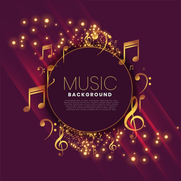 Shiny music background with notes and sparkle Free Vector