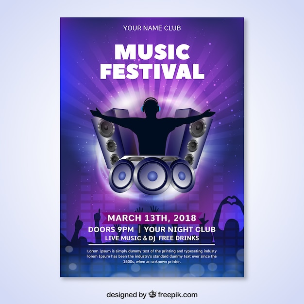 Shiny Music Festival Flyer Template Vector Free Download