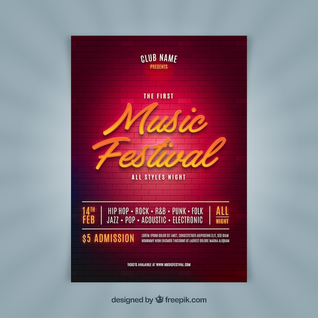 Shiny music party flyer Free Vector
