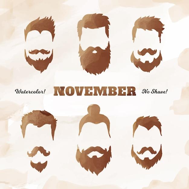 Movemberの光沢のある口ひげコレクション 無料ベクター
