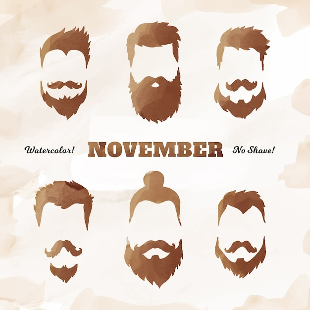 Shiny mustache collection for movember Free Vector