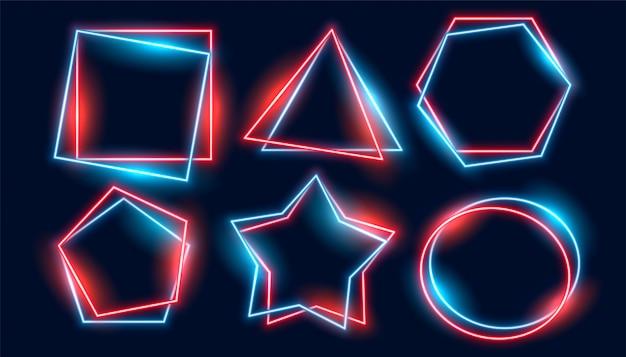 さまざまな幾何学的形状に設定された光沢のあるネオンフレーム 無料ベクター