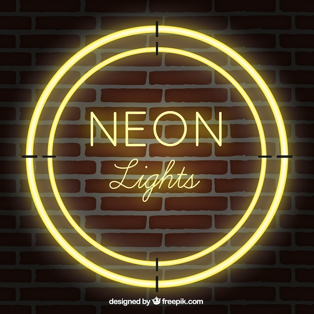 Neon Lights For Wall : Shiny neon lights with brick wall background Vector Free Download