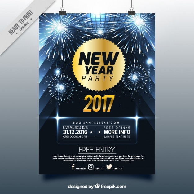 Shiny new year brochure with fireworks Premium Vector