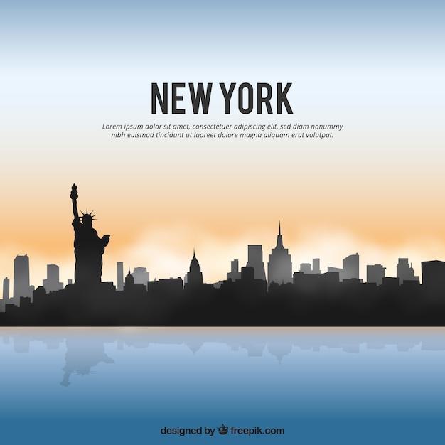 Skyline di new york lucido Vettore gratuito