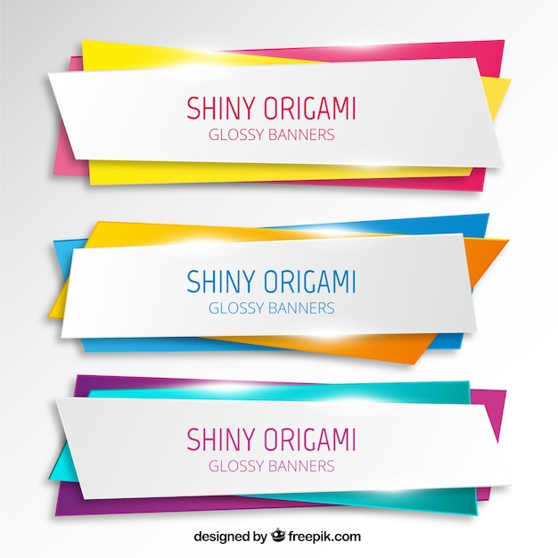 shiny origami banners vector free download