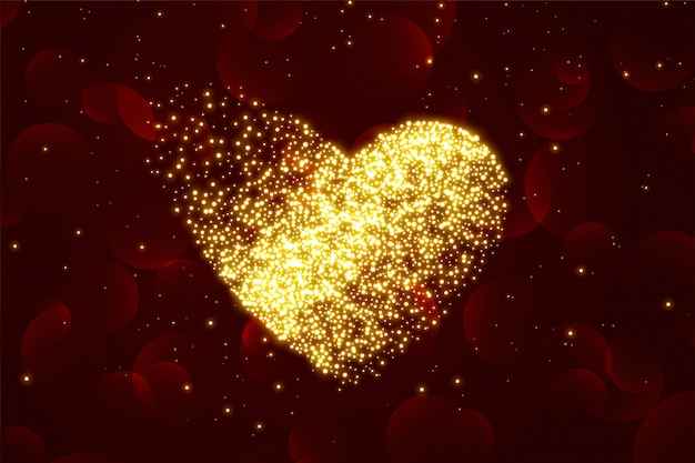 Shiny particle hearts background for valentines day Free Vector