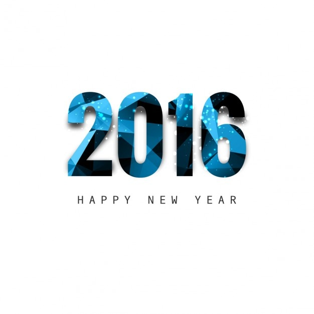 shiny polygonal new year 2016 text vector free download