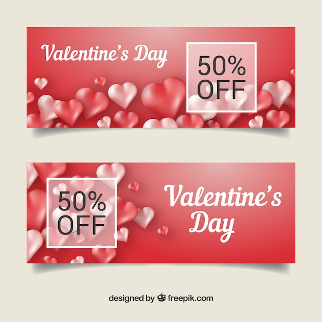 Shiny red banners for valentines day\ sale