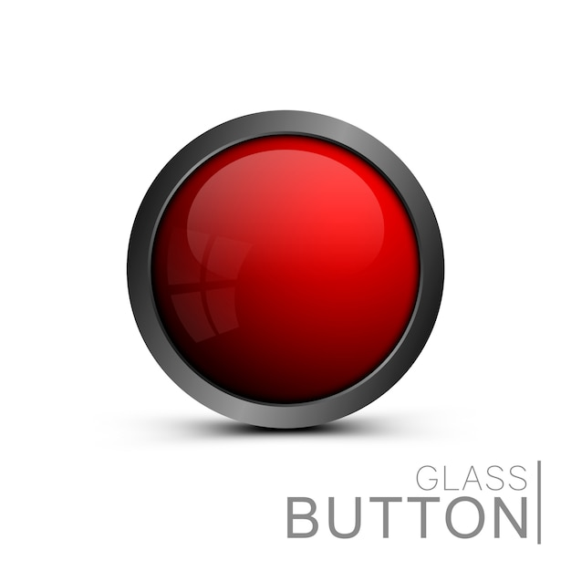 Shiny red button for web design.  , empty, glass button of the round form for icons. element for ui design, apps and games. Premium Vector