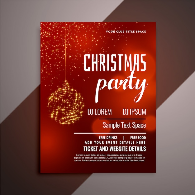 Shiny red christmas party invitation flyer design Free Vector