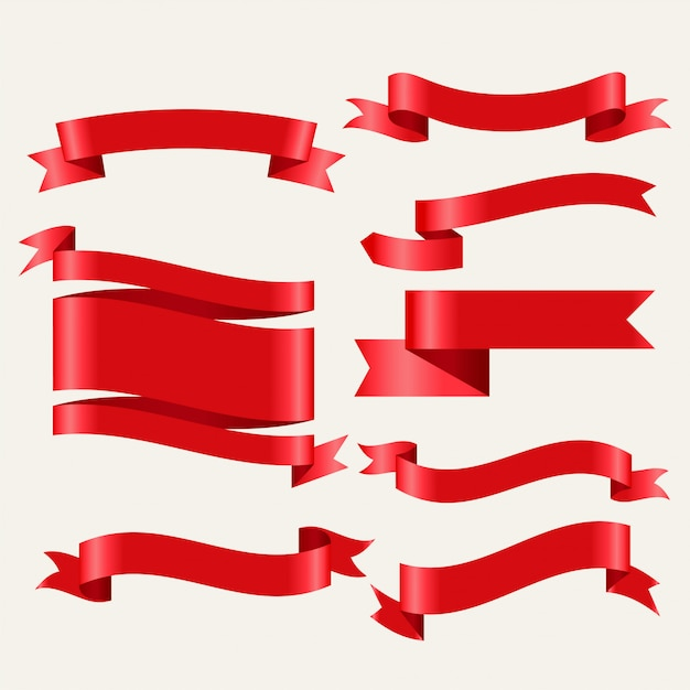 Shiny red classic ribbons set in 3d style Free Vector