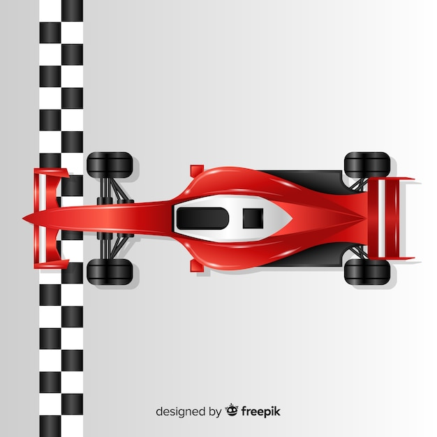 Shiny red f1 racing car crosses finish line Free Vector