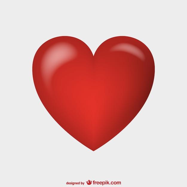 Shiny red heart vector Free Vector