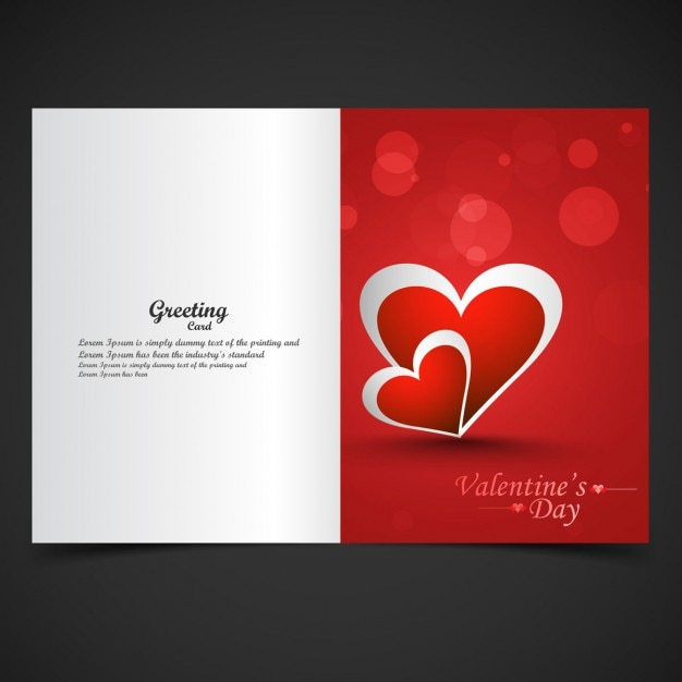 Shiny red love card in bokeh style