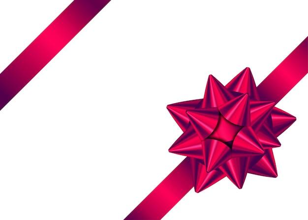 빛나는 빨간색 새틴 선물 리본 및 페이지 장식의 모서리에 활. 프리미엄 벡터