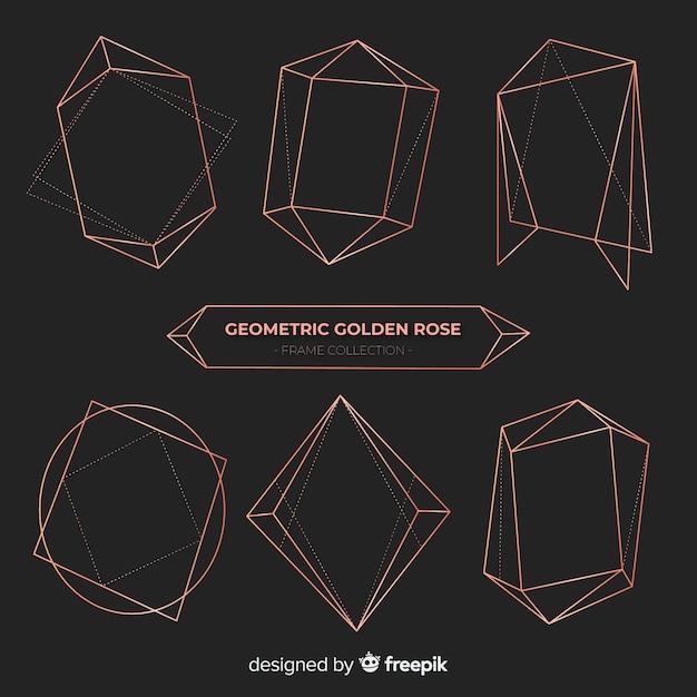 Shiny rose gold frame pack Free Vector