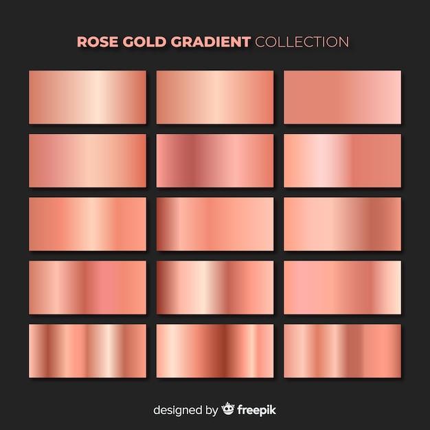Shiny rose gold gradient pack Premium Vector