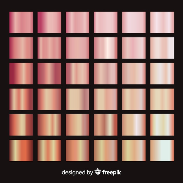 Shiny rose gold gradient pack Free Vector