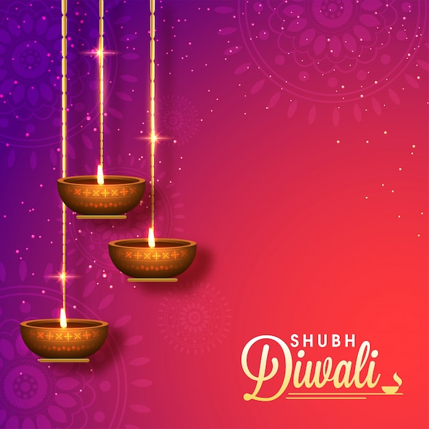 Shiny Shubh Diwali Background With Hanging 3D Oil Lamps