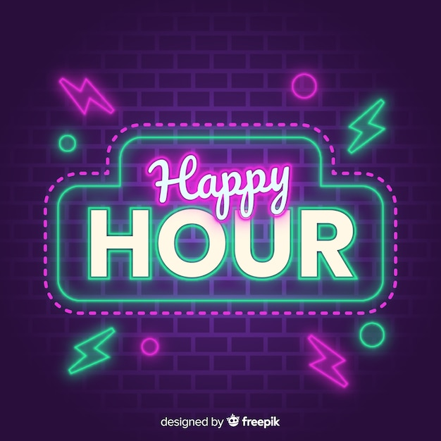 Shiny sign for happy hour sales offer Free Vector