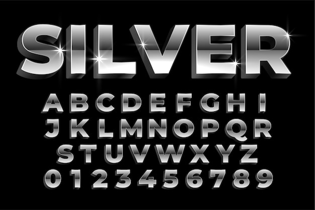 Shiny silver alphabets and numbers set text effect design Free Vector