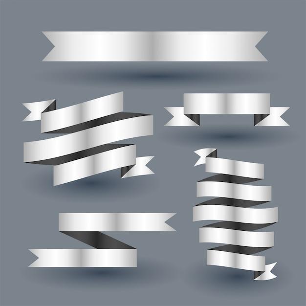 Shiny silver ribbon banner set Free Vector