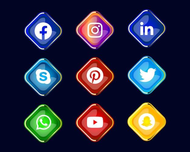 빛나는 소셜 미디어 아이콘 또는 로고 컬렉션 프리미엄 벡터