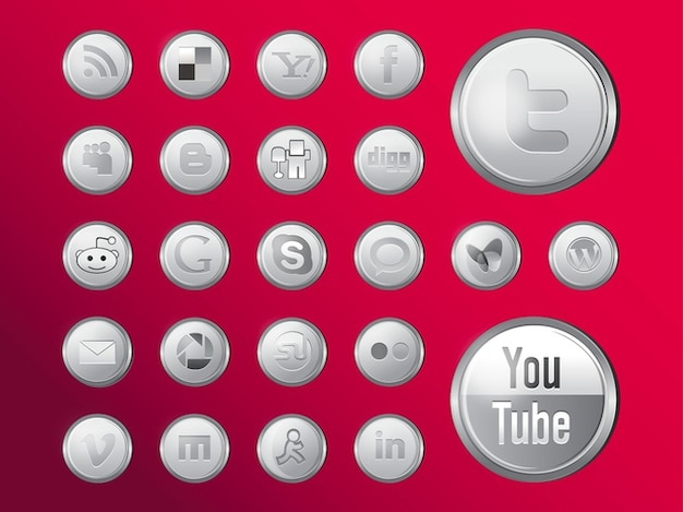Shiny social media icons vector