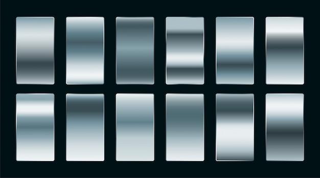 光沢のあるスチールまたはシルバーのグラデーションをマット仕上げに設定 無料ベクター