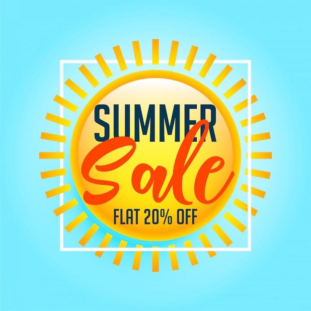 Shiny sun summer sale background Free Vector