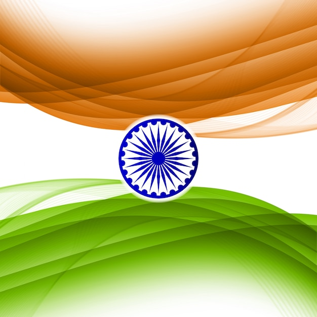 Shiny wavy indian independence day design