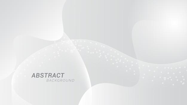 Блестящий бело-серый фон с волнистыми линиями Premium векторы