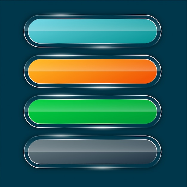 Shiny wide buttons set Free Vector