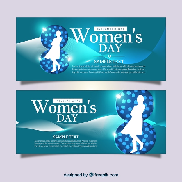 Shiny women's day banners with wavy forms and silhouettes