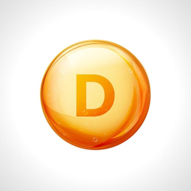 Shiny yellow capsule vitamin d. healthy medicine pill with letter vitamin d symbol. Premium Vector
