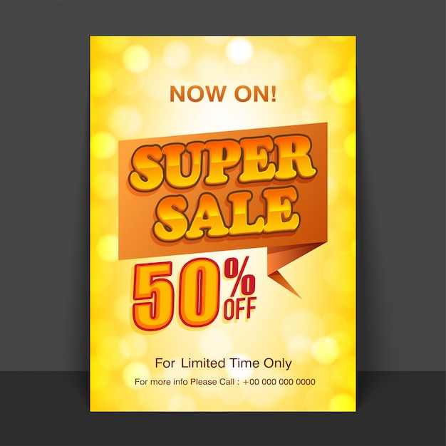 Shiny Yellow Flyer, Template Or Poster Design Of Super Sale With