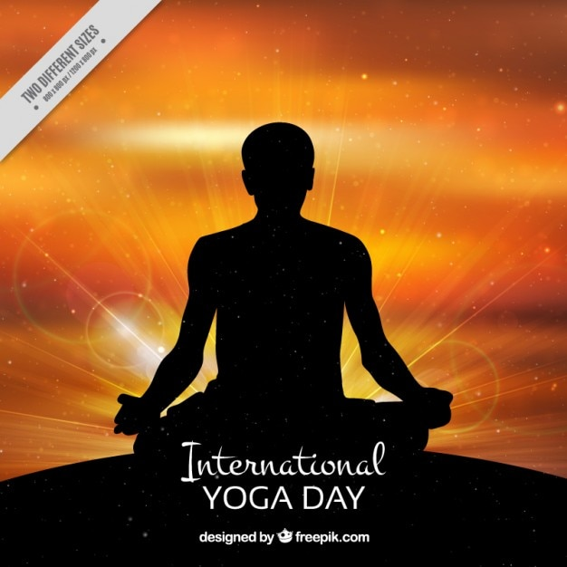 Shiny yoga day background