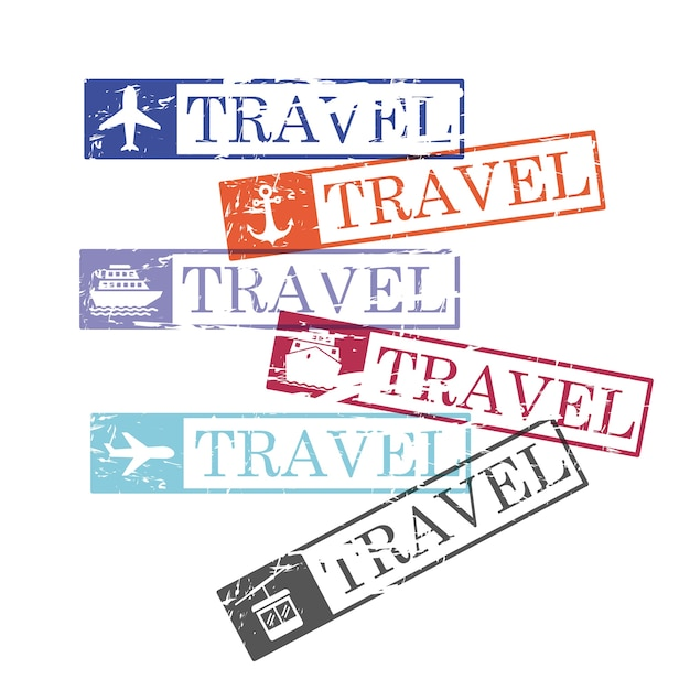 Ship and airplane and cableway travel rectangular stamps Premium Vector
