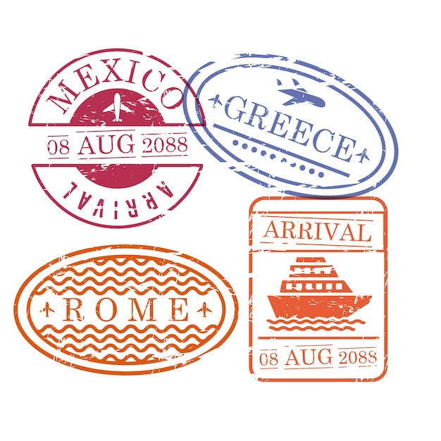 Ship and airplane travel stamps Premium Vector