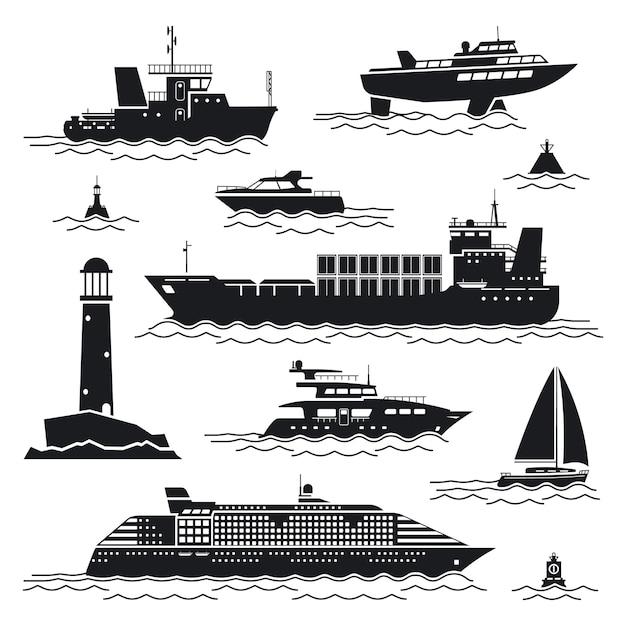 Набор кораблей и лодок. лайнер и контейнер, грузовое судно и буй, маяк и яхта Бесплатные векторы