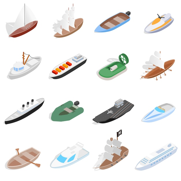 Ship and boat icons set in isometric 3d style. sailing elements set collection vector illustration Premium Vector