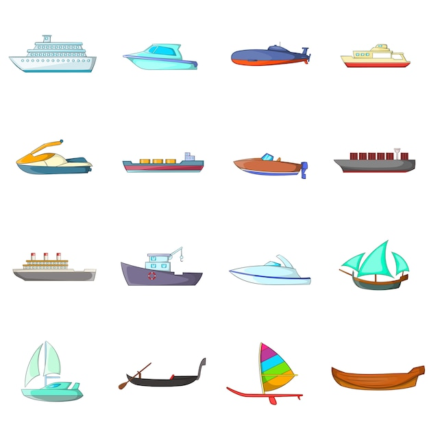 Ship and boat icons set Premium Vector